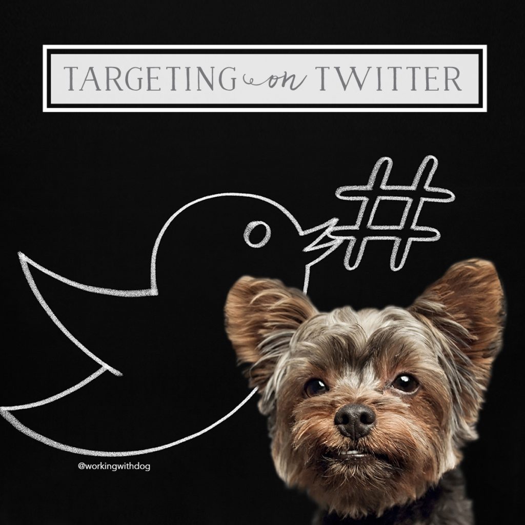 twitter logo with hashtag and dog