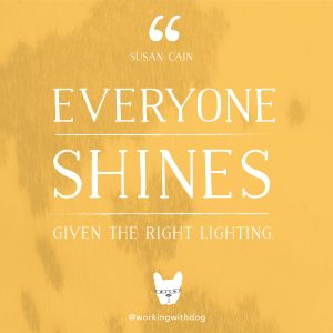 "inspirational motivational quote: ""everyone shines, given the right light"" - susan cain"