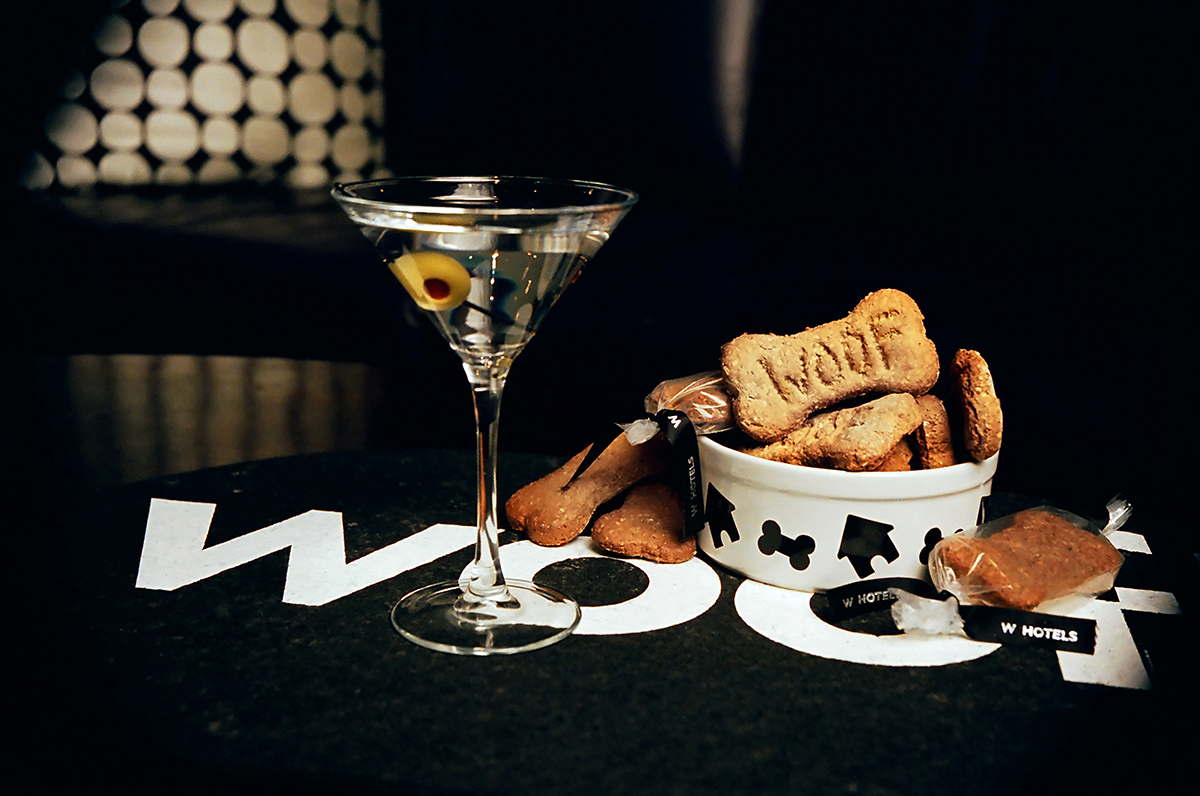 martini and dog biscuits at the W Hotel