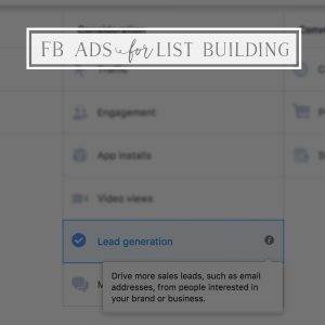 Facebook Ad Basics for Email List Building
