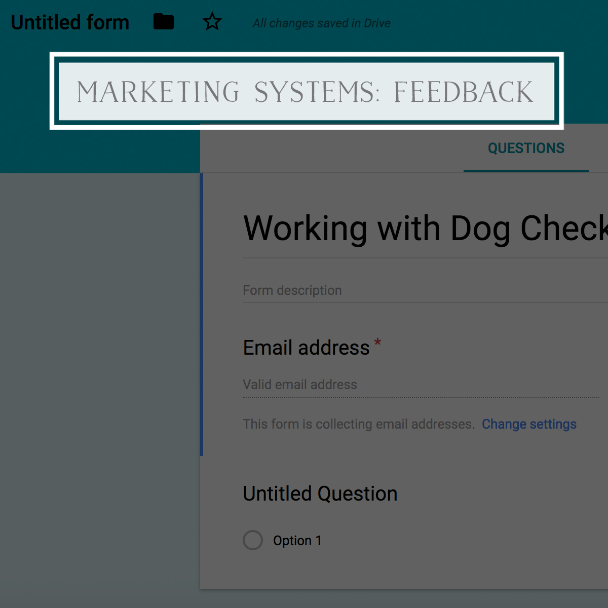 Marketing Systems: Feedback